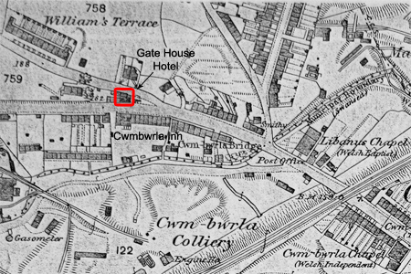 Gate House Hotel Cwmbwrla 1879 OS map
